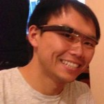 Brian Leung, a Neuroscience PhD student, tests out Google Glass.