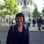 Ana Lee in front of Praca de Cameos in Lisbon